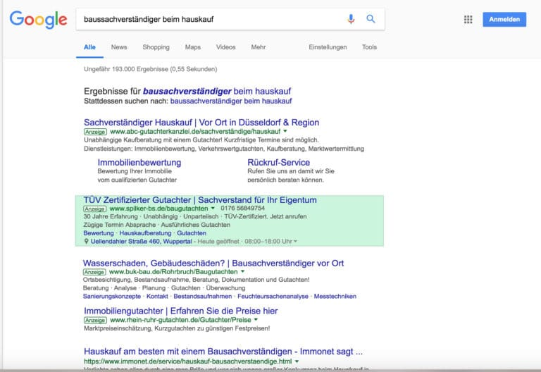 Adwords Suchmaschinen Ergebnis