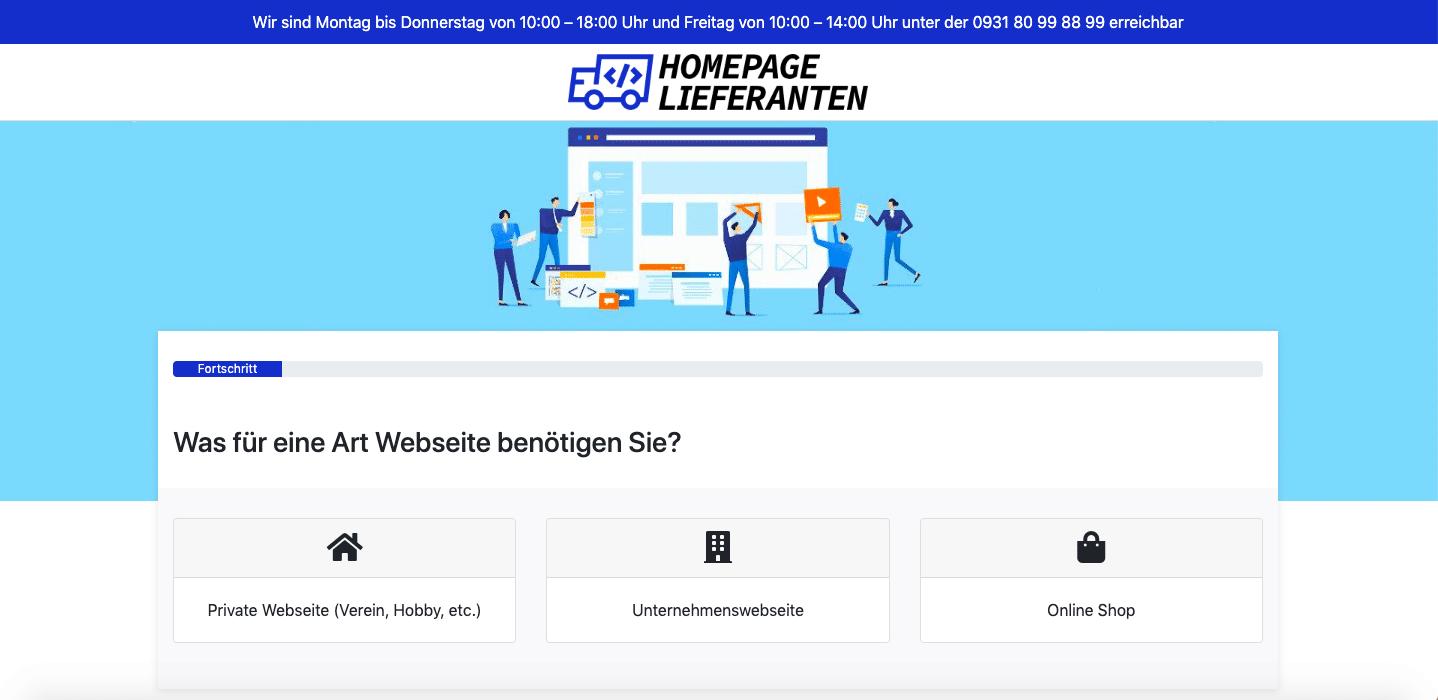 Homepage Lieferanten Website