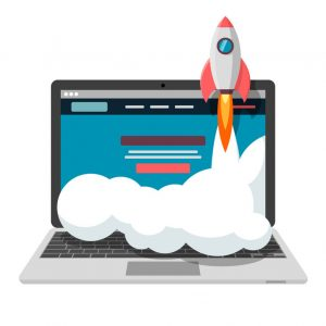 Successful launch of startup project. Vector illustration